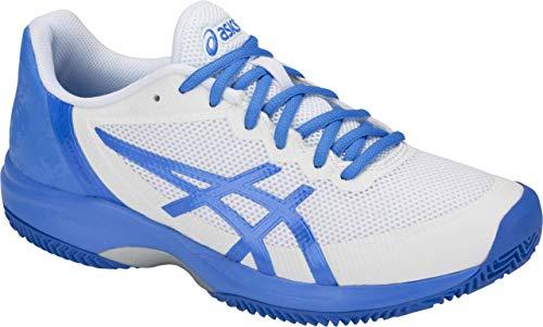 ASICS Gel-Court Speed Clay Women's Tennis Shoe, White/Coastal Blue, 8.5 B US