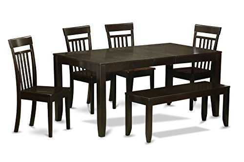 East West Furniture LYCA6-CAP-W ASIN: B00TV4BX9I UPC: 682962635638 View on Amazon, Wood Seat, Cappuccino Finish