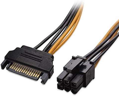 ILS Cable de alimentaci/ón SATA con tarjeta de v/ídeo PCI Express de 15 pines a 6 pines SATA de 20 cm