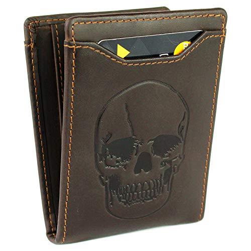 (LXFF Men's Skull Wallet Money Clip Wallets RFID Blocking Slim Front Pocket Credit Card Holder Minimalist Mini Bifold - Full Grain Leather Vintage coffee)