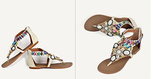 2015 Art und Weise des Sommers weibliche Böhmen Shell Perlen Strass bunt funkelnder Diamant Prise flachen Sandalen Größe 34-40 Beige