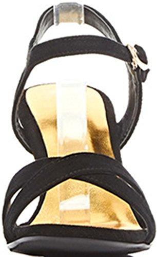Wedge Laruise Damen Schwarz Leder Sandal xzaYzq7w