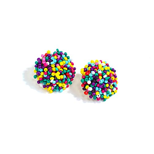 Tiande Statement Beaded Stud Earrings Bohemian Cluster Rainbow Seed Beads Big Round Piercing Post Earrings Idea Gift for Mom, Sister and Friends - Colorful