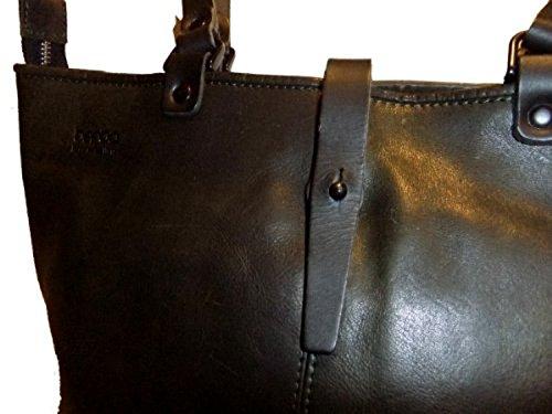 Berba Damen Schultertasche Leder 175-120-26 darkgreen