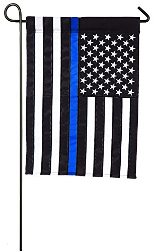 Evergreen Thin Blue Line Police Applique Garden Flag, 12.5 x