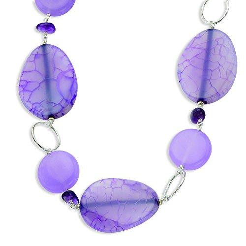 Sterling Silver Lepidolite/Lavender Jade/Amethyst Necklace ()