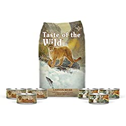 Taste of the Wild Cat-Food Canyon River Feline Grain Free 15 lb Dry 3 cans of Rocky Mountain 3 cans Canyon River Wet Cat Food