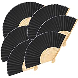Exacoo 12 Pack Hand Held Fans Silk Bamboo Folding Fans Handheld Folded Fan for Wedding Decoration, Birthdays, Home Gifts(Black)