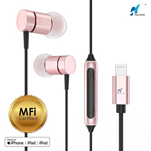 cc31378e499 NASUDAKE MFi A1 Plus iPhone Earbuds, Stereo Lightning Headphones w/Noise  Cancelling Siri Active