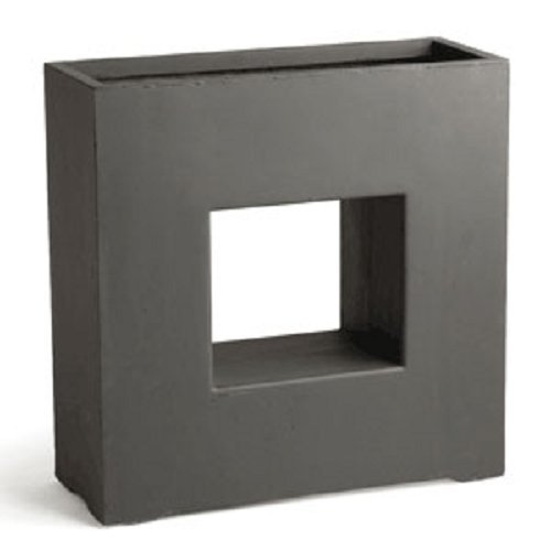 Fibreclay Drake Pot, 27-Inch Square, Dark Gray