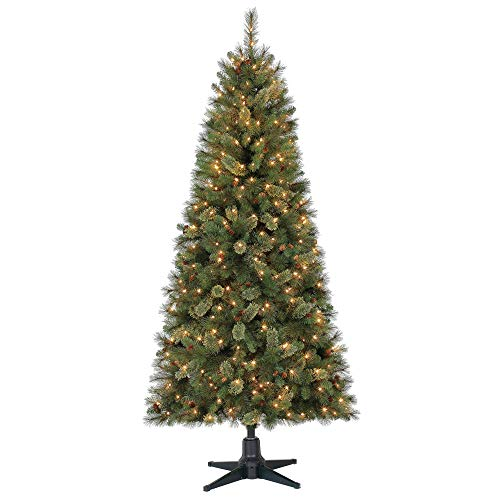 - Holiday Time 7ft Pre-Lit Brookfield Fir Cashmere Quick Set Artificial Christmas Tree with 350 Clear Lights - Green