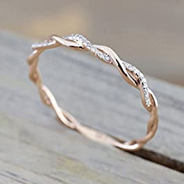 Barogirl Twist Ring Engagement Ring for Women Women's Rings for Lovers YR905(7)