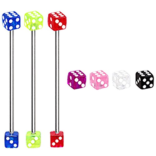 (316L Industrial Barbell with UV Acrylic Dice - 14GA Red L:1&1/2