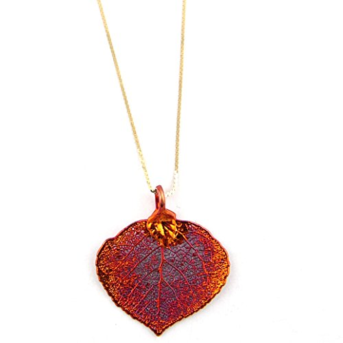 Irridescent Copper-Plated Aspen Leaf Pendant Sterling Silver Serpentine Chain Necklace, -