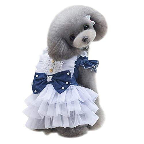 LVYING Spring Summer Fashion Denim Dog Dress Pets Dogs Puppy Princess Gauze Bowknot Party Costume in]()