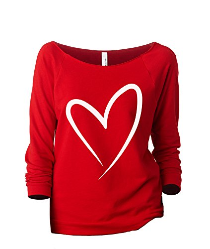 Thread Tank Simply Heart Women's Slouchy 3/4 Sleeves Raglan Sweatshirt Red ()