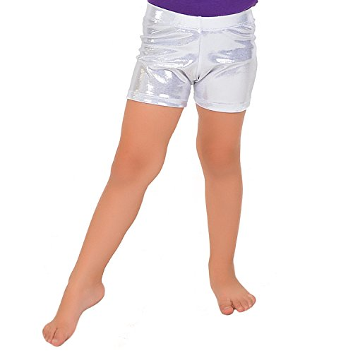Silver Kids Shorts (Stretch is Comfort Girl's Mystique Booty Shorts Silver X Large)