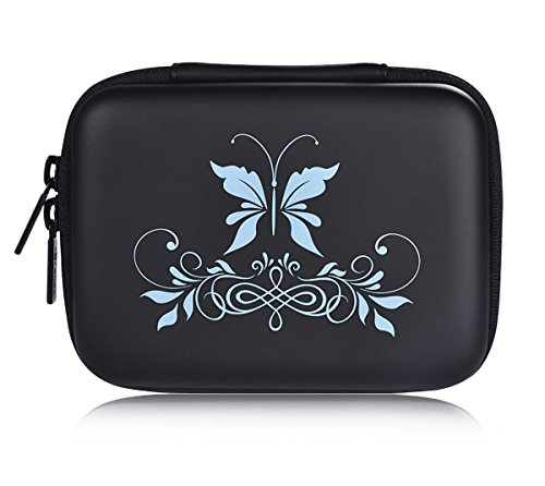 SHBC Essential Oil Case – storage carrying bag suitable for 5ml 10ml 15ml roller Bottles-portable Handle bag for travel and home-perfect for doTerra and Young Living Oil (10 bottles, Blue Butterfly) by SHBC