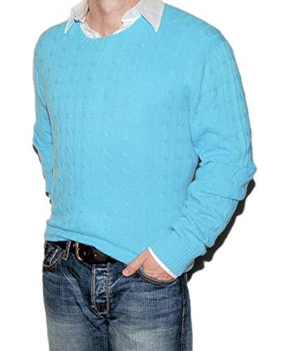 Ralph Lauren Polo Mens Cashmere Cable Crewneck Sweater Aqua Turquoise Blue - Cable Cashmere Crewneck Sweater