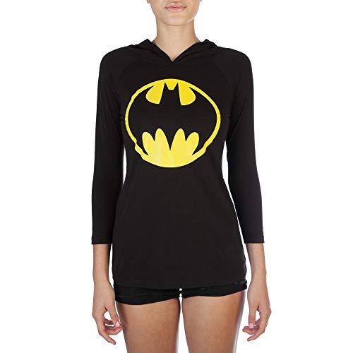 SuperHeroStuff Batman Signal Women's Hooded Long Sleeve T-Shirt- -