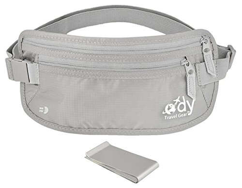 Ody Travel Gear Money Belt for Travel RFID Undercover Passport Holder - Secret Hidden Waist Pouch