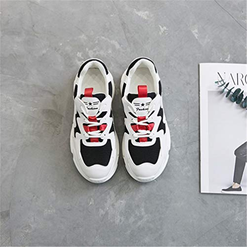 Platform for Lightweight Spring Breathable Shoes Trainers Non Shoes Running Shoes Up Autumn Lace Flat Sneakers Red Qianliuk Walking Sneakers Women Slip Fashion White Women FX0twxqO