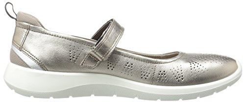 Ecco Mujeres Soft 5 Mary Jane Sneaker Warm Gray Metallic / Moon Rock