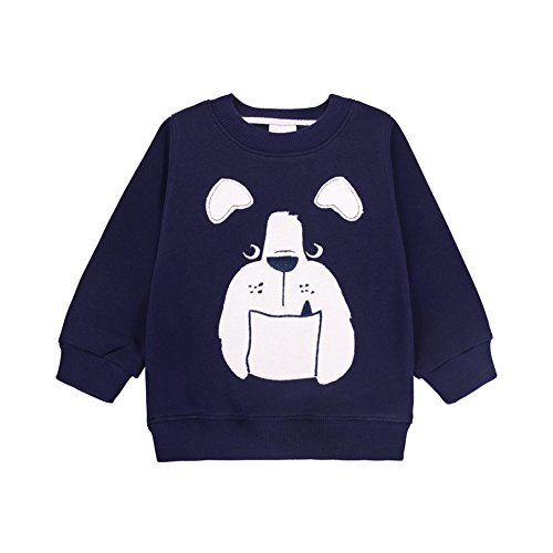 Unisex Baby Toddler Long Sleeve Thick Christmas Sweater Cotton Pullover Sweatshirt(Navy Dog,12M) (Little Girl Says No Thanks On Halloween)