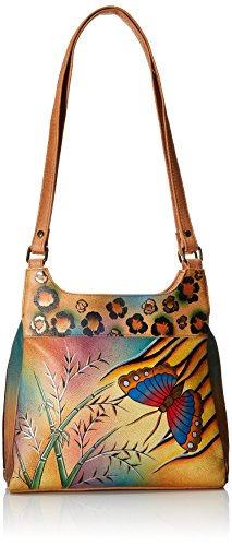 Anuschka Anna by Handpainted Leather Medium Hobo, Jungle Butterfly