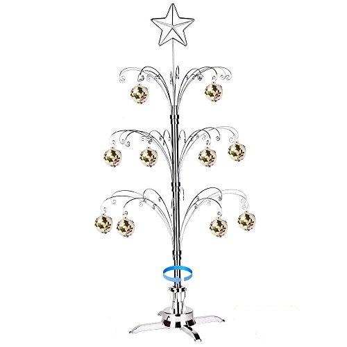 HOHIYA Artificial Christmas Tree Rotating Metal Ornament Decorations Stand 60 Hooks 3 to 4 Feet(Silver)