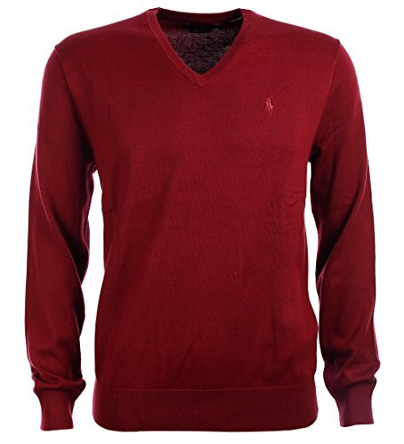 Polo Ralph Lauren Mens Pima Cotton V-Neck Sweater (Medium, Red) by Polo Ralph Lauren