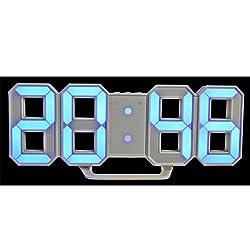 Zehui Modern Digital LED Wall Clock Table Desk Night Electric Clock Alarm Watch Multi-Functional LED Clock 24 or 12 Hour Display Digital Clock Blue