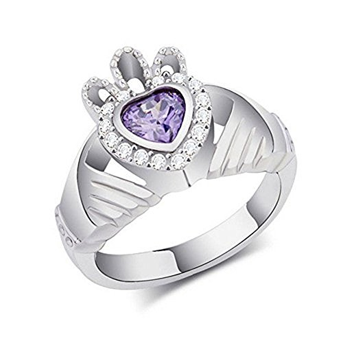 [Litter Star Europe And America Movie Leap Year Heart Purple Cz Crystal Rings Claddagh Ring Titanium Steel Rings Carats Of Heart-Shaped Microscope Color Crystal Rings Diamond Ring Size 6] (Movie Star Costumes For Couples)