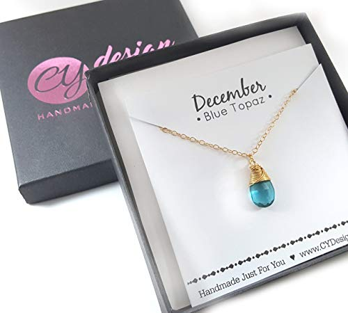 December Birthstone Blue Topaz Quartz 14k Gold Filled Necklace - Gift for Her ()