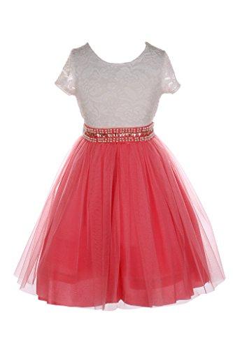 iGirlDress Big Girls Sleeves Lace Tulle Flower Girls Dresses 8 Ivory/ (Coral Girls Dresses)