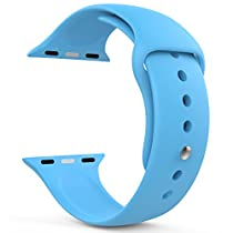 MoKo Apple Watch Band Series 1 Series 2, Soft Silicone Replacement Sports Band for 42mm Apple Watch 2015 & 2016 All Models, BLUE (Not fit 38mm Versions)