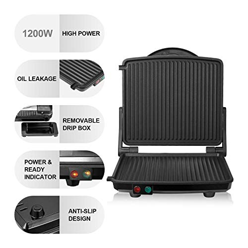 Kealive Panini Press Grill, 4-Slice Extra Large Gourmet Sandwich Maker Grill, Non-Stick Coated Plates, Opens 180 Degrees to Fit Any Type or Size of Food, Stainless Steel Surface and Drip Tray, 1200W by Kealive (Image #4)