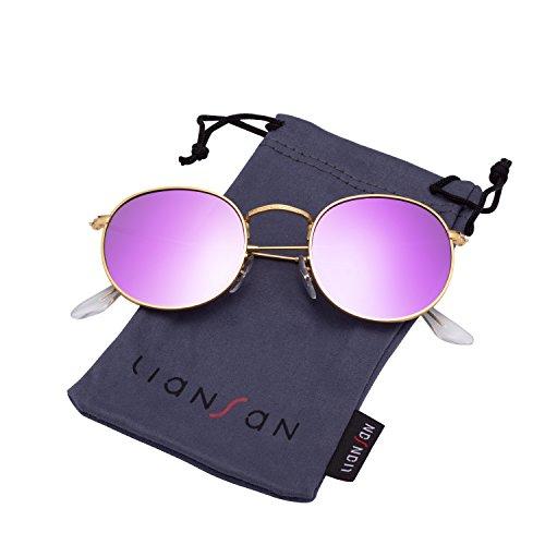 LianSan Classic Metal Frame Round Circle Sunglasses for Men and Women 3447 Purple Polaroid Lenses -