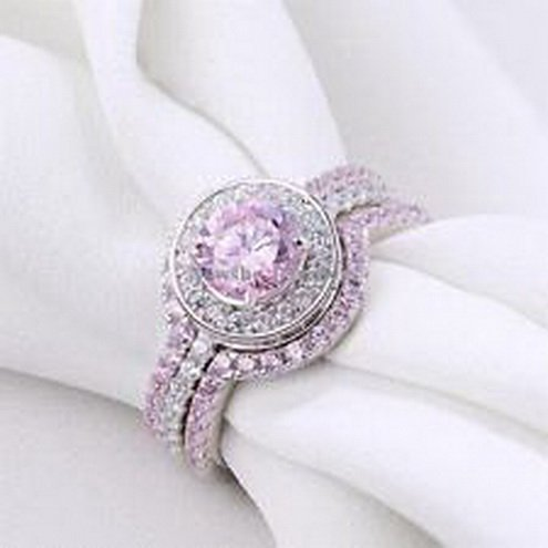 Metal-Jewellery-Womens-925-Sterling-Silver-Halo-Round-Cut-Pink-Sapphire-Wedding-Ring-Set-Size-5