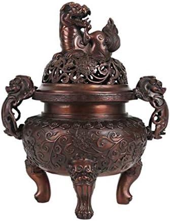 XYACM アッシュキャッチャーとのスティック香、コーンお香と香コイルのための真鍮香炉&線香立て ハンドメイド、禅ホルダーはすべての灰をキャッチ (Color : Brown, Size : L)