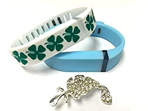Set Small S 1 White with Green Irish Lucky Clover 1 Light Blue Colors Replacement Bands With Clasps for Fitbit Flex St. Patrics Day Good Luck Clovers /No tracker/ Wireless Activity Bracelet Sport Wristband Fit Bit Flex Bracelet Sport Arm Band Armband + Nice Crystals Feather Brooch