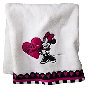 Amazon Com Minnie Mouse Bath Towel White Home Amp Kitchen