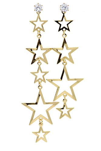 Hollow Out Stainless Steel Diamond Mounted Mismatched Star Sparkles Drop Earring (Gold)