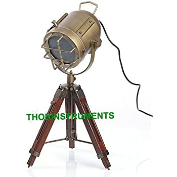 VINTAGE INDUSTRIAL STYLE BROWN BRASS FINISH TEAK WOOD TRIPOD TABLE LAMP
