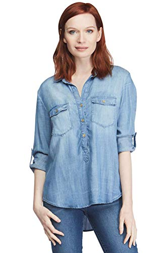 (VELVET HEART 'Angelique' - Women's Button Up Shirt, Casual Chambray Popover Denim Top, Lightweight, Comfy & Eco-Friendly!)