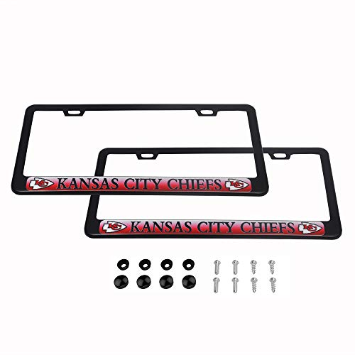 2 Pack Luxury Stainless Steel License Plate Frame and Colored Auto Emblem (Kansas City Chiefs)