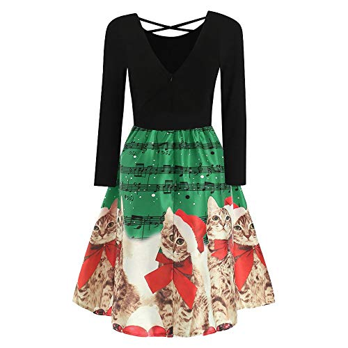 Party Dress Women Long Sleeve Christmas Cats Musical Notes Print Vintage Dress
