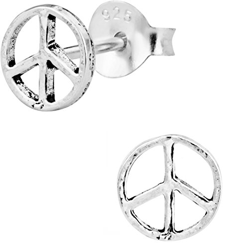 (Hypoallergenic Sterling Silver Peace Sign Stud Earrings for Kids (Nickel Free))