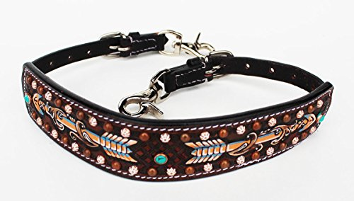 ProRider Western Leather Wither Strap Breast Collar Hand Tooled Show Tack Brown 105M80226 (Breast Tooled Collar)