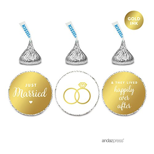 Andaz Press Chocolate Drop Labels Trio, Metallic Gold Ink, Wedding Just Married, 216-Pack, Fits Hershey's Kisses, Not Gold Foil, Gold Stationery, Invitations, Decorations]()